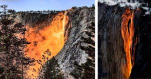 Natural Phenomenon Lights Up This 'Fire fall' At Yosemite National Park—And It Is Simply Stunning!