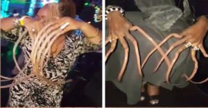 Stomach-churning clip shows women with three-feet long nails as ratchet fashion craze is slammed on-line