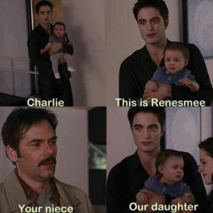 .Twilight's Charlie, Edward, Renesmee and Bella