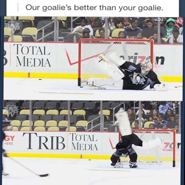 Our goalie is better than your goalie..